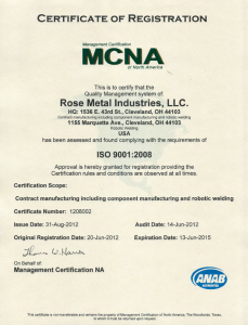 Current ISO Certificate for Rose Metal
