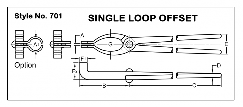 Tongs Quote Style 701 Single Loop Offset Rose Metal Industries